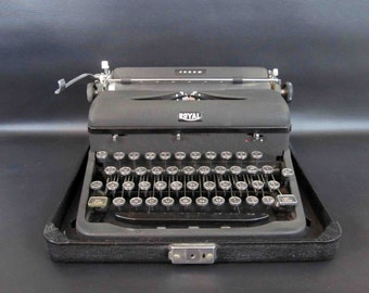 Vintage Royal Arrow Typewriter with Case. Circa 1930's - 40's.