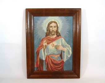 Vintage Jesus Christ Paint By Numbers. Framed. Circa 1950's - 1960's.