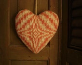 Antique Woven Coverlet Heart Pillow ~ Valentine Treasure