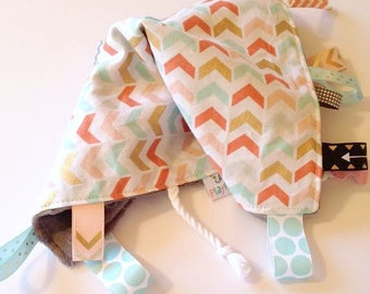 Sensory Blanket | Lap Blanket | Security Blanket | Tags | Rag with Tags | Broken Chevron with Gold