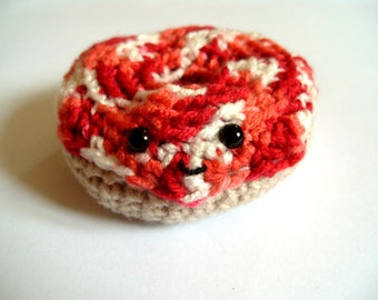 Crochet Donut Amigurumi Doughnut Pin Cushion Play Food Toy Cake Donut Plushie Strawberry Swirl