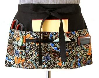 Vendor apron - Waitress apron - Teacher Apron - half apron with zipper pocket - adjustable apron - cash apron - black half apron