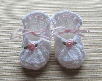 Instant Download #235 Knitting Pattern White Baby Shoes with Pink Roses