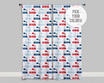 Train Curtains or Valance, Train Decor, Custom Curtains, Train Nursery, Train Valance, Personalized Curtains, Any Size-Pick Your Colors!