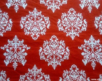 Damask Block Print Fabric By The Yard, Indian Cotton Fabrics, Hand Printed Fabric, Red Floral Print Fabric, Damask Print India Fabric
