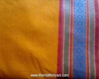 Yellow Saree Fabric By The Yard, Indian Handloom Fabric, Hand Woven Cotton, Lightweight Curtain Material, Indian Cotton Fabric, Ilkal Sari