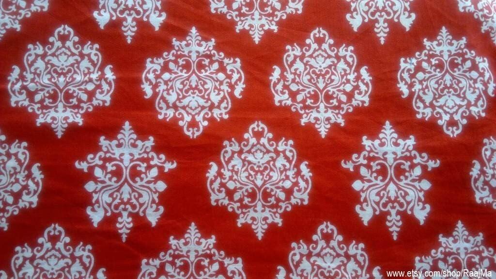 Damask Block Print Fabric By The Yard Indian Cotton Fabrics