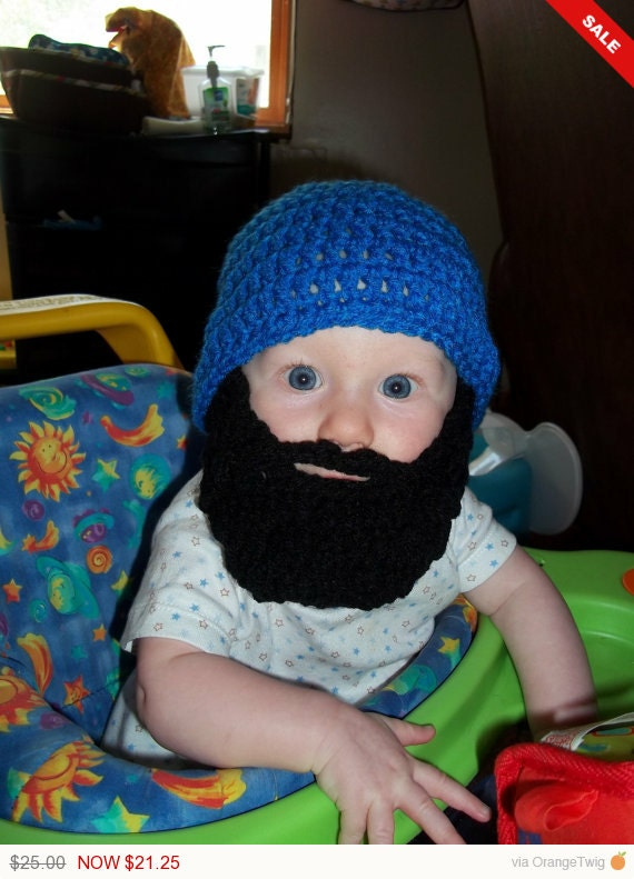 Primary Blue Beard Beanie - 0 to 3mos, 3 to 6 mos, 6 to 12 Months, Toddler - Infant Sized - Made to Order