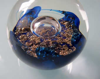 Selkirk Glass Scotland Paperweight ELECTRA Blue Gold Bubbles 2.75 in Signed 1998