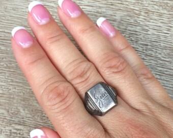 Vintage Signet Ring 1937 Silver Ring Jim