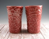 Red Pottery Cup  - Ceramic Wine Tumbler - Pair (2) Organic Porcelain Wine Glass - Juice Tumbler - 533