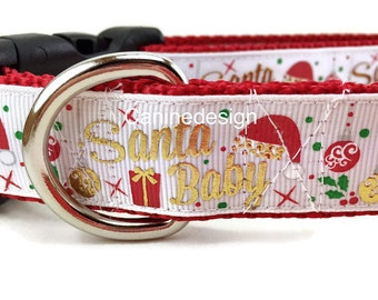 Christmas Dog Collar, Santa Baby, 1 inch wide, adjustable, quick release, metal buckle, chain, martingale, hybrid, nylon
