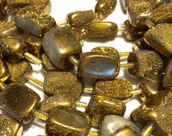 14mm Druzy type nugget beads gold titanium coated half strand