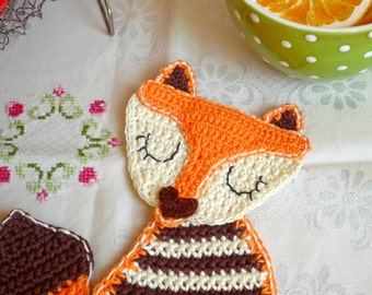 Fox Crochet Coaster - Orange Fox Coaster - Fox Drink Coaster - Baby Shower Gift - Fox Nursery Decor - Gift under 20 - Gift for Kids