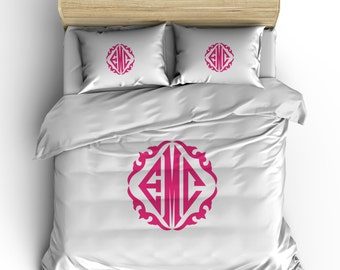 Simplicity Diamond Classic Monogram Bedding- Your Choice of Colors, Borders or no border - shown Hot Pink Details