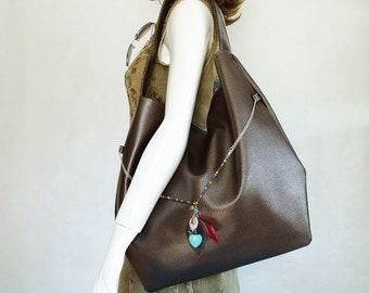 Brown Handbag, Bohemian Shoulder bag, slouch hobo with charms, faux leather brown bag, large brown boho purse with heart & feather charms