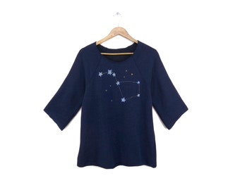 Big Dipper Tunic - Fleece Oversized 3/4 Sleeve Scoop Neck Sweatshirt in Heather Navy and Gold Stars - Women's Size XS-2XL