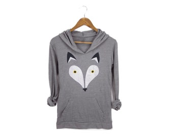 Geo Wolf Hoodie - Lightweight Scoop Neck Hooded T-Shirt Pullover Sweatshirt in Eco Heather Grey and Yellow Eyes - Women's Size S-XL