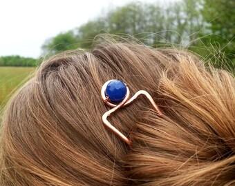 Minimalist hair stick Womens gift Metal hair fork Copper pin Boho accessories Rustic copper hair accessories Bun holder Womens accessories