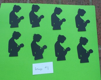Set of 8 Mom and Baby Silhouettes,mom and baby die cuts, mom and baby silhouettes,scrapbooking die cuts