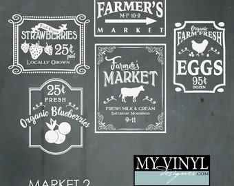Farmer's Market SVG Files, Kitchen and Home Cuttable SVG Files,  Svg, Eps, Gsd, Ai, Vinyl Cut Files for Silhouette, Cricut, and more