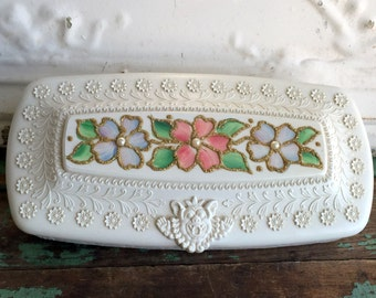 Vintage Plastic 1950's Small Jewelry box Hand painted flowers and Northwind Face