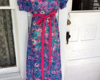 Vintage 1960's Flower Floral Sheer Maxi Formal Dress Hot Pink and Blue S/M