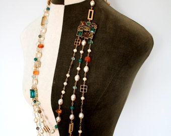 Vintage Chanel-inspired Long Tripple-layer Baroque Pearl and Natural Stone Necklace