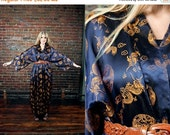 25% off Vintage Kimono / Robe /  Lounge Wear / Asian / Novelty Dragon Print / Navy Blue / Duster / Outerwear / Maxi / Dressing Gown / Bed Ja