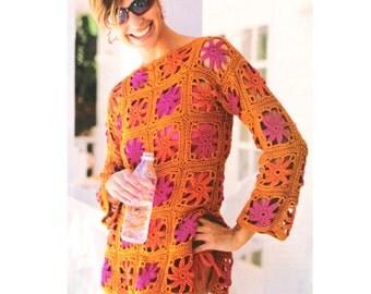 Crochet Granny Square Tunic Pattern : Granny square tunic Etsy UK
