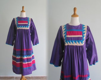 Vintage Indian Cotton Purple Dress - 80s Gorgeous Applique Cotton Caftan - Vintage 1980s Dress S M