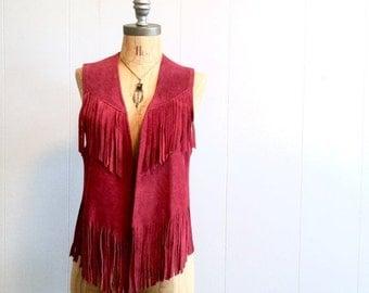 FLASH SALE vintage 70s burgundy FRINGE suede vest S-M