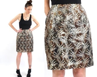 vintage 80s gold + black SEQUIN palm leaves SKIRT M-L
