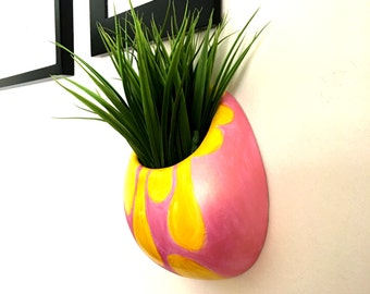 Ceramic Wall Planter Yellow Metallic Pink Abstract Painted Modern Home Decor Hanging Vase - READY TO SHIP