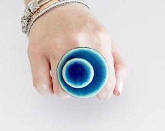 Boho Jewelry Ceramic Ring - big ring, stone ring, handmade ring, statement ring - StudioLeanne  - 1.8 inch