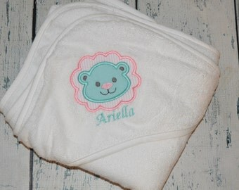 Personalized Lion Infant Hooded Towel Monogrammed Baby Shower Gift