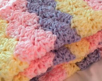 Pastel Baby Blanket, Pink Yellow Lavender Blanket,  Crochet Baby Blanket, Baby Shower Gift, READY TO SHIP