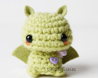 Baby Green Bat - Kawaii Mini Amigurumi Plush