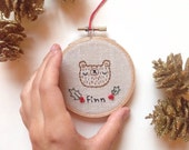 FREE US SHIPPING Personalized Name Christmas ornament, customized name embroidery, embroidered bear, hand embroidered christmas ornament