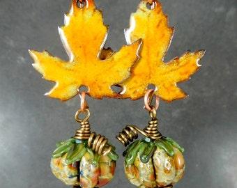 Rustic Glass Pumpkin & Enamel Maple Leaf Dangle Earrings, Autumn Fall Jewelry, Nature Inspired Woodland Earthy Halloween Boho Chic Harvest