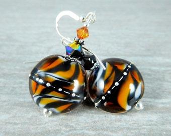 Tiger Stripe Earrings, Animal Print Earrings, Tribal Jewelry Safari, Autumn Fall Glass Earrings, Brown Orange Black, Earth Tones, Lampwork