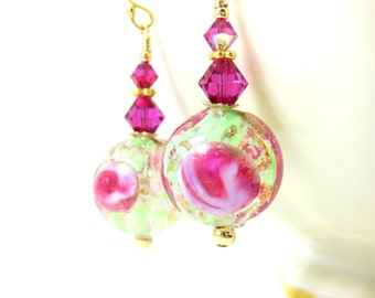 Pink Green & Gold Murano Glass Dangle Earrings, Venetian Glass Earrings, Italian Glass Earrings, Floral Earrings, Gift for Her Under 25