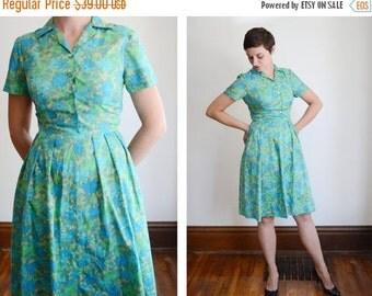 SUMMER SALE 1950s/1960s Blue and Green Shirtwaist Dress - S