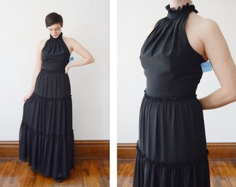 1970s Halter Evening Dress black with Ruffles - S/M