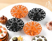Ornate Filigree Metal Cakestand in Black or Orange - Tiny Miniature Food in 12th Scale for Dollhouse