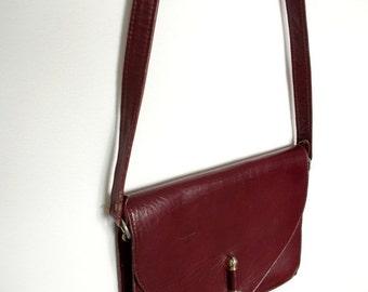 SUMMER SALE French vintage 1970s deep burgundy leather clutch bag