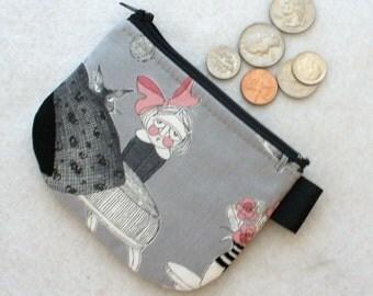 Mini Coin Purse Zipper Change Purse Fabric Coin Wallet Halloween The Ghastlies Fabric Cordelia Sebastian Ghastlie Night Gray GNSBlack Cat