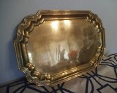 Large Vintage Solid Brass Tray ~