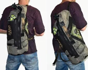 For mens Sling backpack Military backpack Fabric backpack Big bag Skull bag Post apocalyptic Big backpack Mad Max Bag skulls Backpack Punk