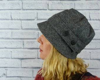 Womens Cloche Hat - Black/Grey Yorkshire Tweed, Womens Hat
